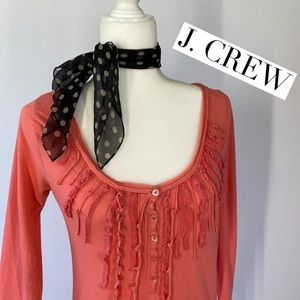 J. CREW Ruffle Scoop Neck 3/4 Sleeve Top Size S
